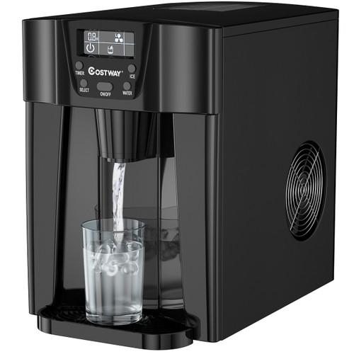 Costway 2 In 1 Ice Maker Water Dispenser Countertop 36Lbs/24H LCD Display P