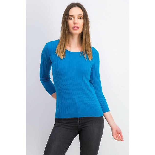 Maison Jules Women's Ribbed Crew-Neck Sweater Med Blue Size Medium