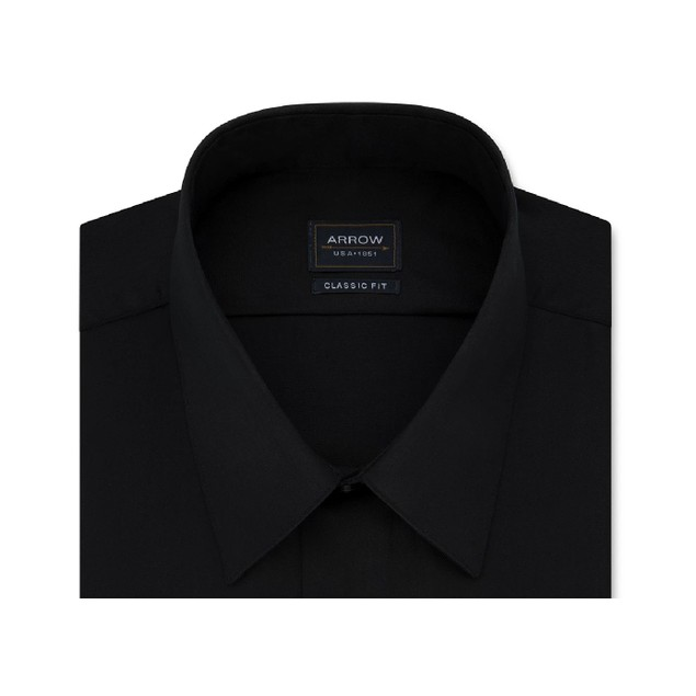 Arrow Men's Classic-Fit Non-Iron Dress Shirt Black Size 15-15.5x32-33