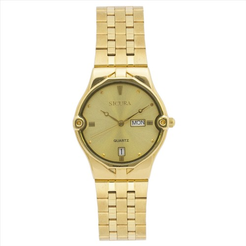 Sicura Womens Watches SJH 3832 52Y Black Quartz Stainless Steel Gold Tone