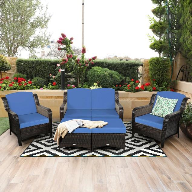Costway 5PCS Patio Rattan Furniture Set