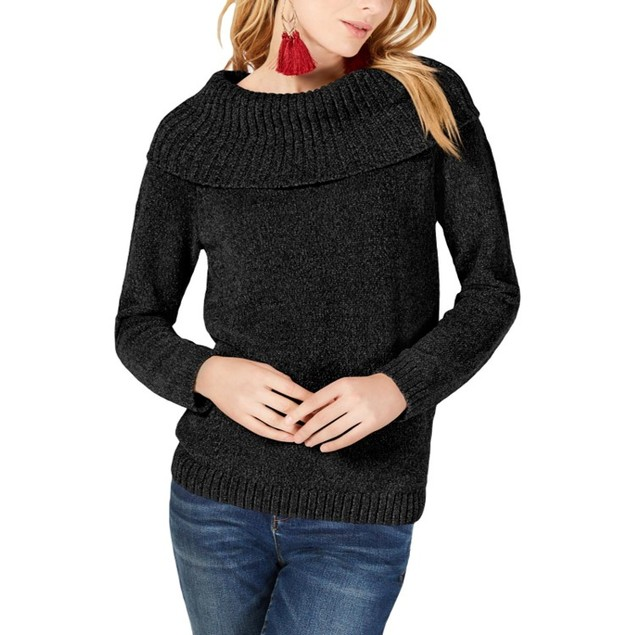INC International Concepts Women's Cowl-Neck Sweater Black Size Extra Large