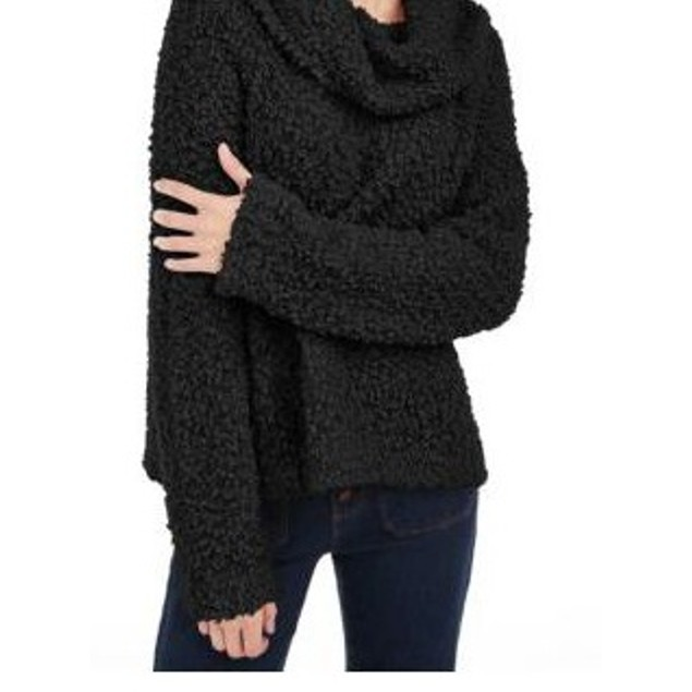 Hippie Rose Women's Juniors' Textured Cowl-Neck Sweater Black Size Medium
