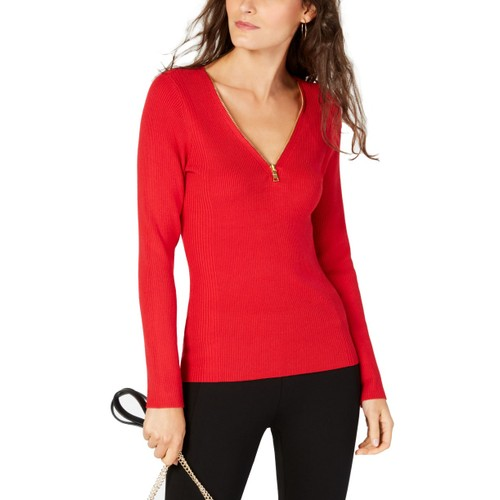 INC International Concepts Women's Zipper Embellished Sweater Red X-Large