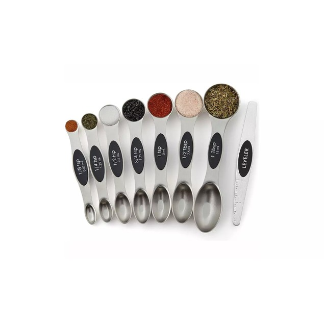 Magnetic Measuring Spoons Set, Dual Sided, Stainless Steel Set of 8