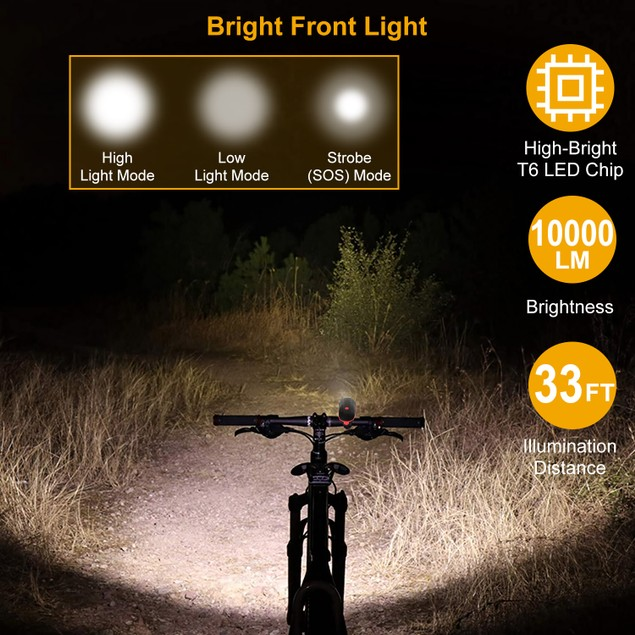 10000lm Bike Headlight USB Rechargeable LED Bicycle Front Light