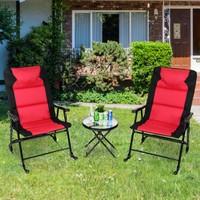 Deals on Costway 3 PCS Outdoor Folding Rocking Bistro Set