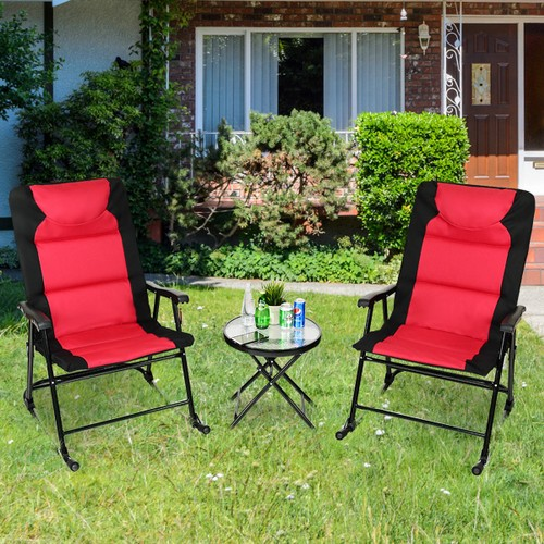 Costway 3 PCS Outdoor Folding Rocking Bistro Set