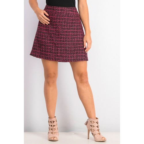Maison Jules Women's Tweed Mini Skirt Pink Size 12