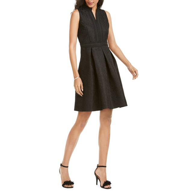 Pappagallo Women's Embroidered A-Line Dress Black Size 8