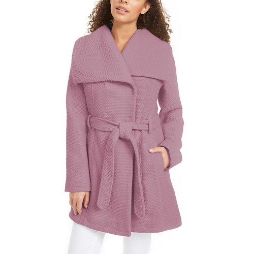 Madden Girl Juniors' Asymmetrical Belted Wrap Coat Pink Size Extra Large