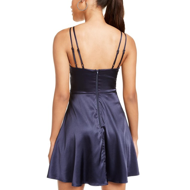 Sequin Hearts Juniors' Satin Fit & Flare Dress Navy Size 9