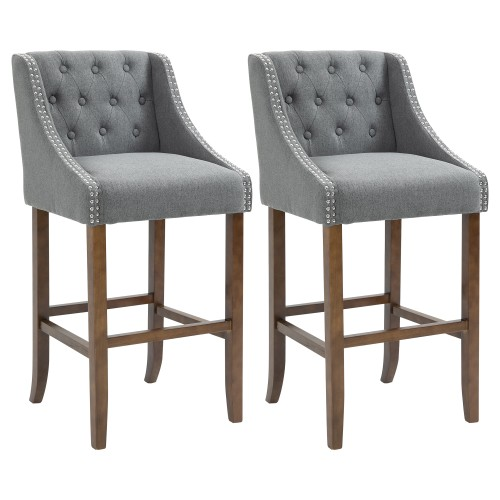 Mid-Back Bar Stool Tufted Upholstered Dining Chair Set of 2, Dark Grey