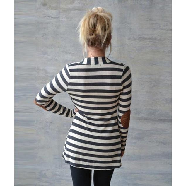 Women's Long Sleeve Striped Cardigan