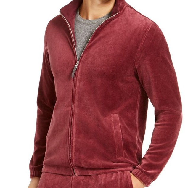 Tasso Elba Men's Velour Track JacketWine Size Large