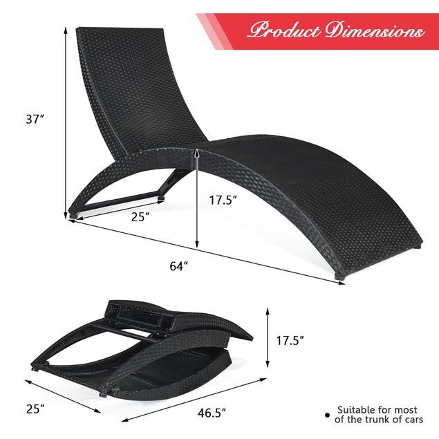 2PCS Folding Cushioned Chaise Lounge
