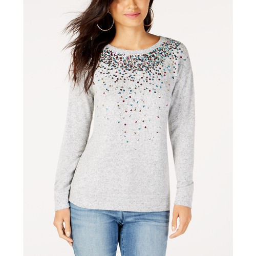 INC International Concepts Women's Sequined Knit Top Gray Size Medium
