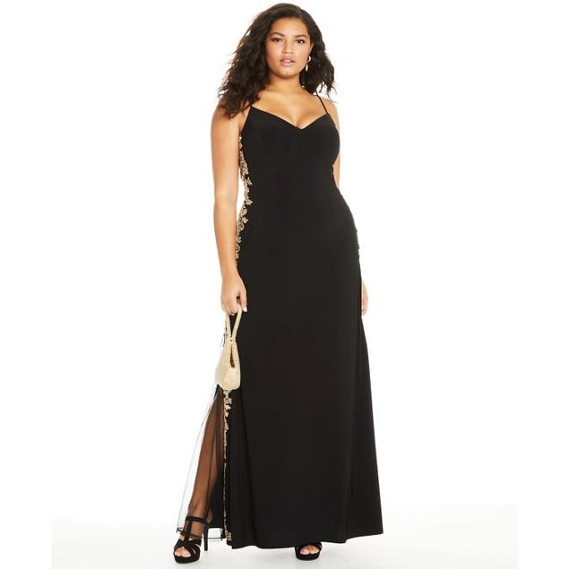 B Darlin Women's Trendy Plus Size Rhinestone Applique Gown Black Size 16