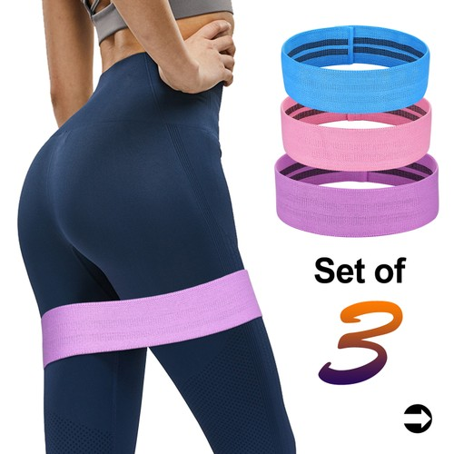 Resistance Bands Loop for Legs and Butt, Anti Slip Fabric with Carry Bag