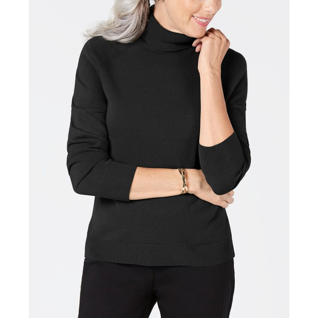 Karen Scott Women's Plus Size Turtleneck Luxsoft Sweater Black Size 0X