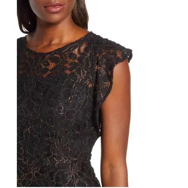 Donna Ricco Women's Flounce Sleeve Lace Jumpsuit  Black Size 8