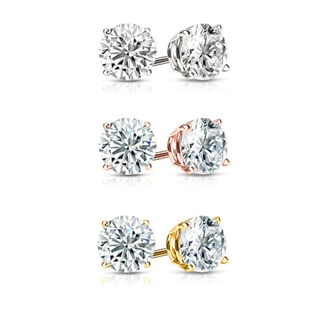 3 Pair Gold Plated Round Cut Crystal Studs