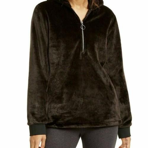 Ideology Women's Faux-Fur Quarter-Zip Hoodie Black Size Medium
