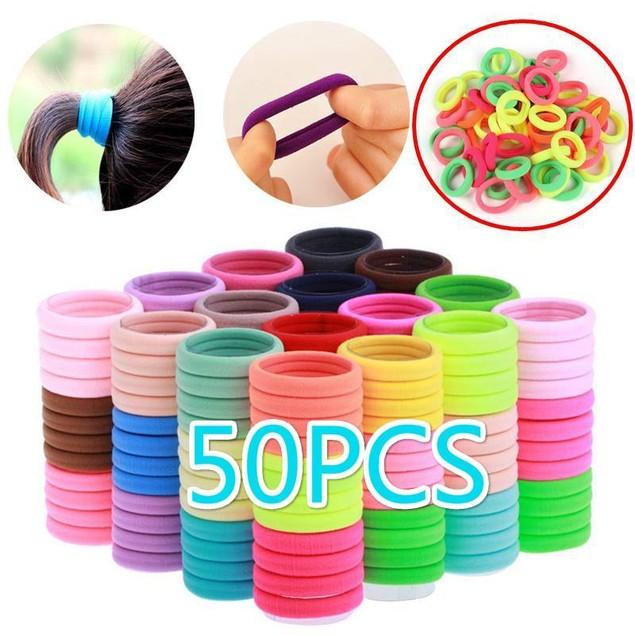 50 Pcs Kids Girl Elastic Hair Ties Band Rope Ponytail Bracelet