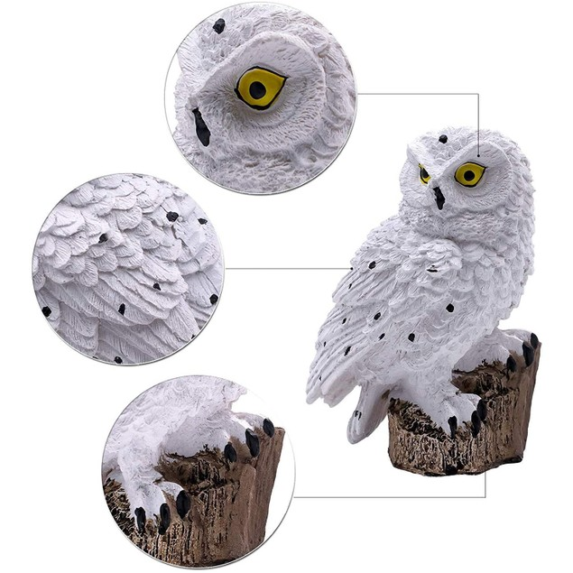 Solar LED Outdoor Lights Resin Owl Stake Garden Lawn Yard Waterproof Lamp