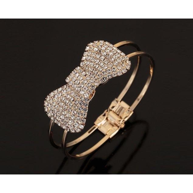 Novadab Crystal & Goldtone Bow Hinge Bangle
