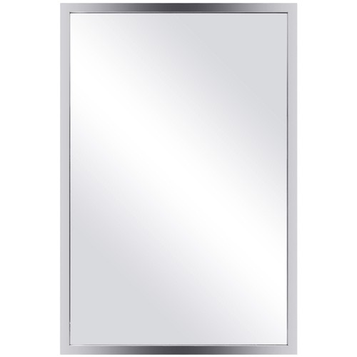 Costway Large Rectangular Wall Mirror Stainless Steel Frame Floating Glass