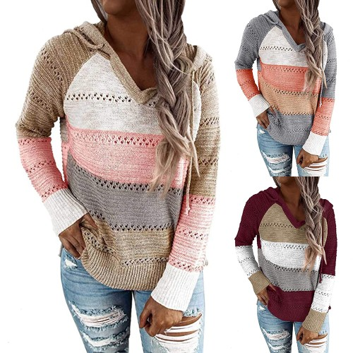 Women's Fashion Color Striped Drawstring Knitted Sweater