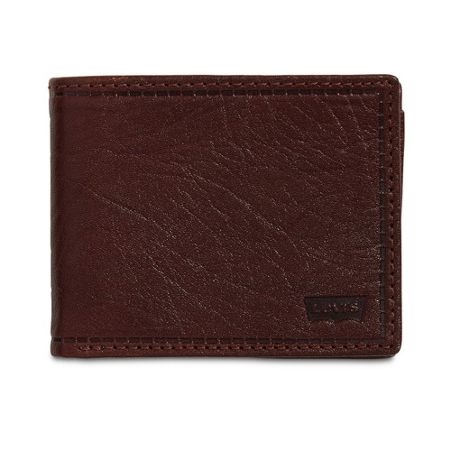 Levi's Men's Rfid Extra-Capacity Leather Wallet Dark Brown Size Regular