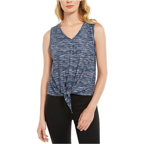 Ideology Women's Striped Tie-Front Tank Top Navy Size Large