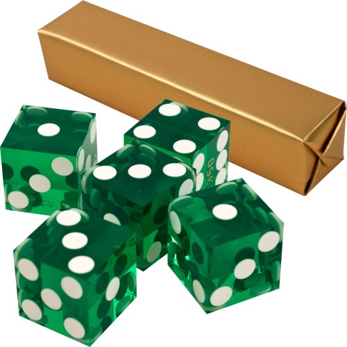 19mm Professional Serialized Set of Casino Dice 5 Green