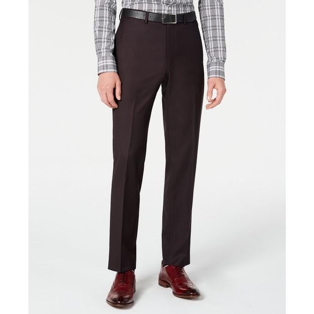 DKNY  Men's Modern-Fit Stretch Burgundy Birdseye Suit Pants Red Size 34X30