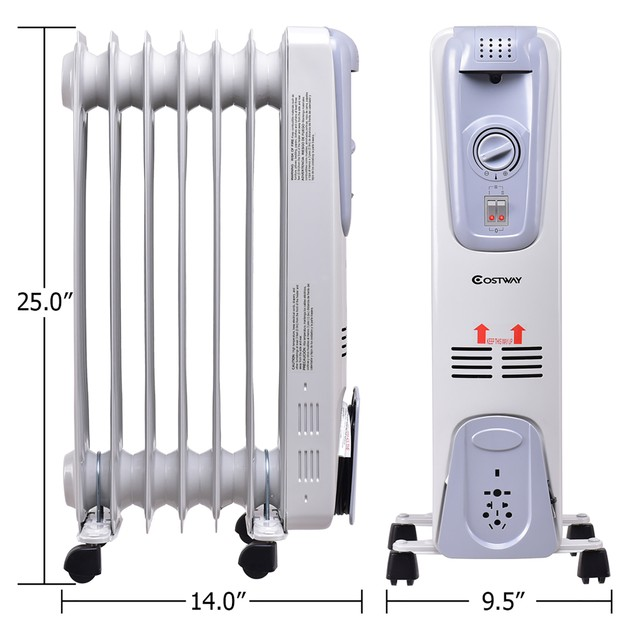 1500-Watt Electric Oil Filled Radiator Space Heater 7-Fin Thermostat