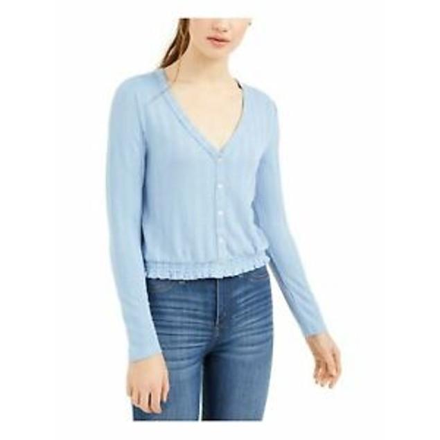 Self Esteem Juniors' V-Neck Pointelle Top Blue Size Extra Large