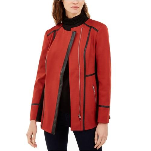 INC International Concepts Women's Faux-Leather-Trim Moto Jacket Size Large