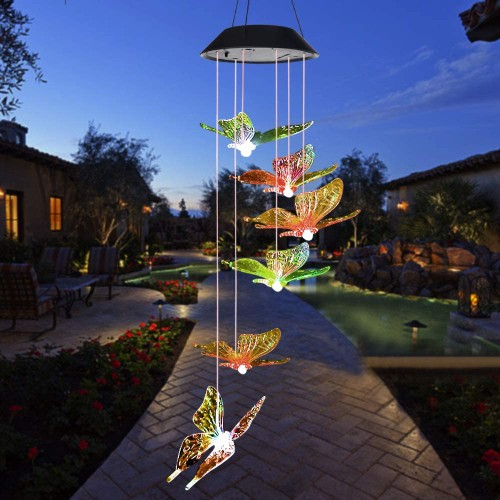 Outdoor Solar Butterfly Wind Chimes Color Changing LED Hanging Decor Light