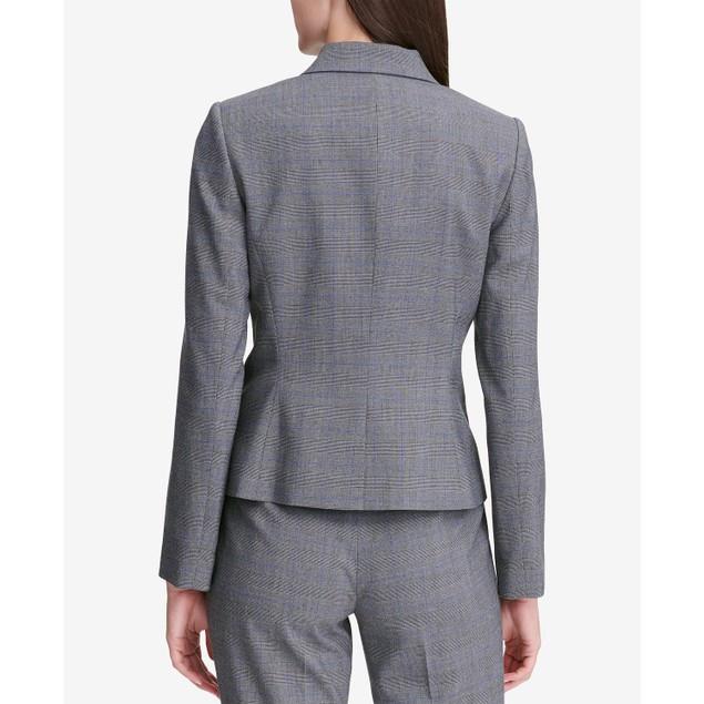 Calvin Klein Women's Glen Plaid Two-Button Jacket Silver Size 4