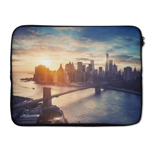 """EmbraceCase 17"""" Ink-Fuzed Laptop Sleeve - NYC Sunset Eve"""