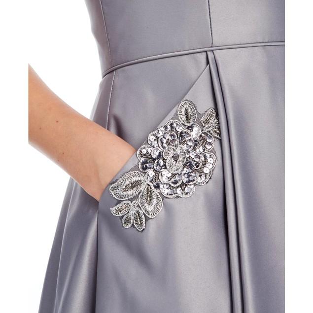 Blondie Nites Juniors'  Embellished Fit & Flare Dress Silver Size 1