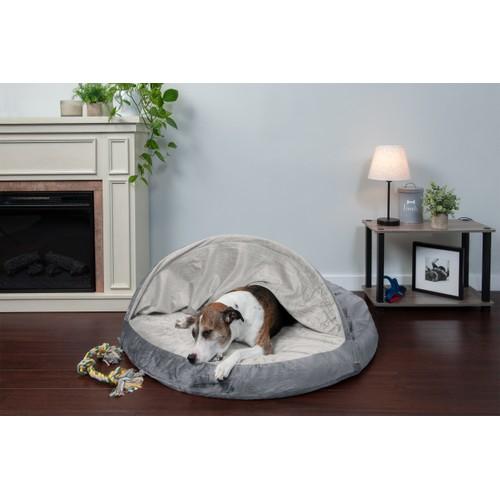 FurHaven Cooling Gel Orthopedic Round Microvelvet Snuggery Pet Bed