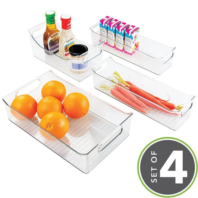 mDesign Plastic Food Storage Bins for Kitchen Cabinet, Set of 4 - Clear
