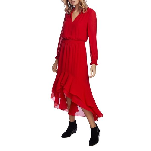 1. State Women's Smocked High-Low Dress Red Size Large