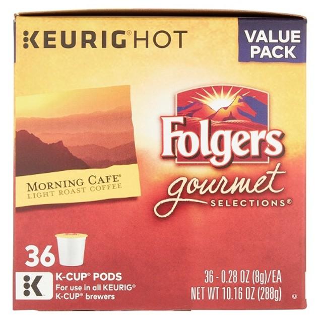 Folgers Morning Cafe Light Roast Keurig Value Pack Box