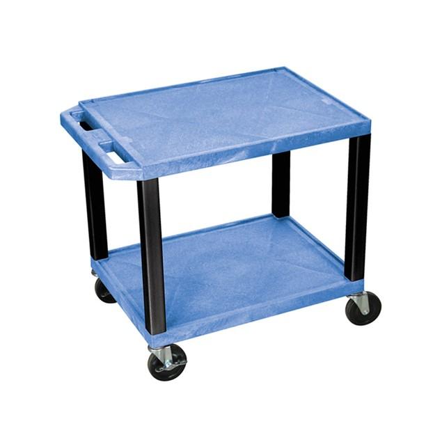 """Luxor 26"""" Two Flat Shelves AV Electric Cart - Black Legs, Blue"""