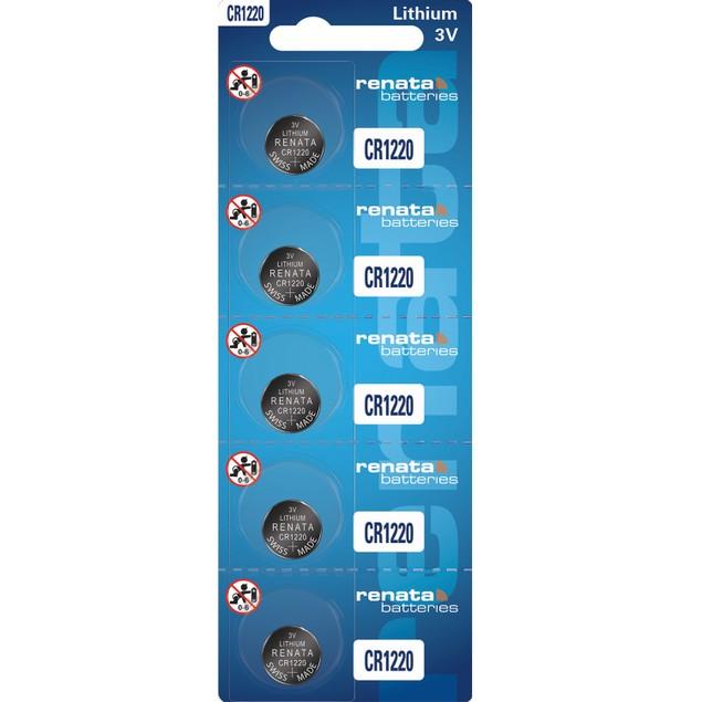 Renata CR1220 Lithium Coin Cell Batteries (5 Batteries)