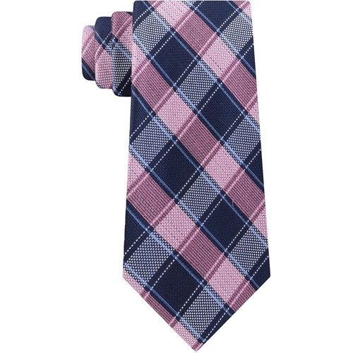 Michael Kors Men's Track Plaid Tie Pink Size Regular